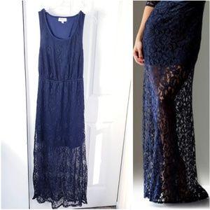 NWOT Navy Blue Lace Maxi Dress Medium